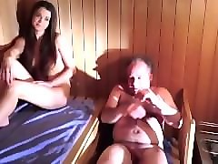 Teen, Sauna, Old Man, Wanked off by old man in the woods
