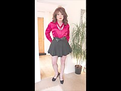 Black, Satin, Mini skirt stockings