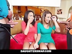 Dad watches daughter gangbang italian