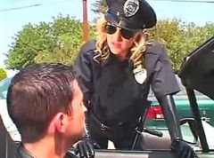 Car, Police, Police woman rought girle by strapon