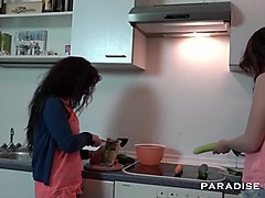 Kitchen, Lesbian, German, Indian couple hot making out sex