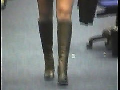 Boots, Black, Reality kings skinny girl in white mini skirt