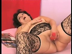 Lingerie, Fat, Sexy mom in lingerie sucks on a