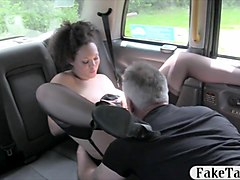 Bus, Babe, Stockings, Busty milf in glasses fucks stud