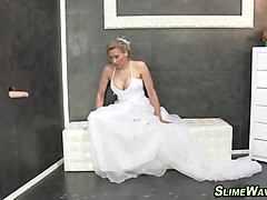 Bukkake, Wedding, [asian girl in wedding dress sucking nipples