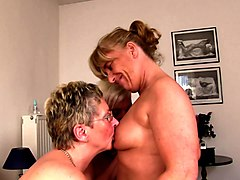 Granny, Blonde, Foursome, German, Skinny hairy granny