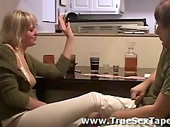Amateur, Couple, Mom and son get drunk