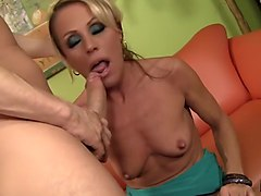 Blonde, Milf, Milf hard fuck in front of her husband