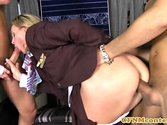 Anal, Club, Stewardess, Cfnm, Asian stewardess gets fucked on the plane