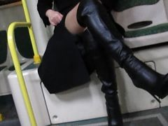 Bus, Boots, Black, Flashing, Leather, Stockings, Handjob in boots
