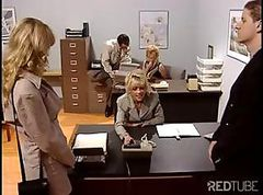 Bus, Blonde, Office, Babe, Girle punish girle in office by strapon
