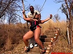 African, Chubby, Slave, Latex mistress torture