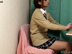 Upskirt, Uniform, Young japanese schoolgirls licking shaved pussys