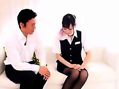 Asian, Stewardess, Shy, Stewardess sucking cook at the plane