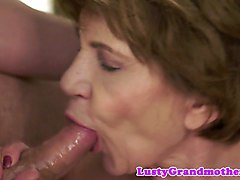 Granny cum in mouth swallow