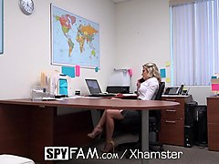 Anal, Office, Spy, Mature mom office sex