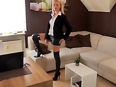 Blonde, Leather, German, German mature in leather with boy