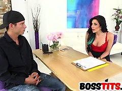 Big titted babe in red dress fucked by boss