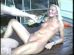 Amateur, Blonde, German, Oil, Oiled pussy riding
