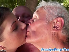 Grandpa, Mom banged by two young outdoor