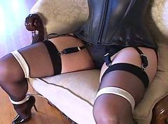 Bondage, Black, Heels, Pump, Stockings, Pussy pump momy