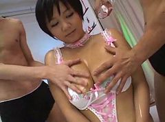 Asian, Oil, Creampie, Lesbian oil up