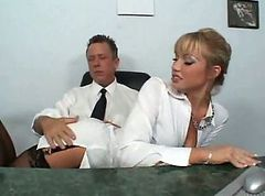 Secretary, Nylon, Asian nylon footjob