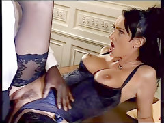Anal, Black, Ass, Lingerie, Sexy mom fucks a black cock for the first time