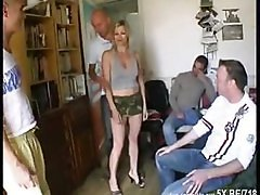 Blonde, French, Gangbang, Gangbang cuckold