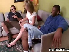 Blonde, Black, Teen, Black cock for mature