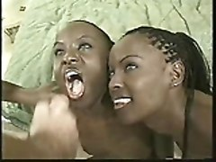 Ebony, Twins, Sexy twins kissing and giving