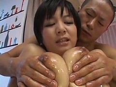 Asian, Oil, Creampie, Oiled lesbian strapon
