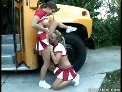 Bus, Cheerleader, Pantyhose cheerleader