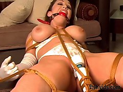 Tied, Vibrator, Redhead, Using vibraters