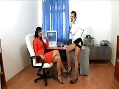 Heels, Secretary, Lingerie, Threesome, Milf bitch in heels