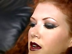 Stockings, Strapon, Redhead, In the wood get creampie
