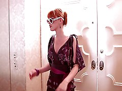 Shower, Redhead, Remote controlled vibrating panties in public