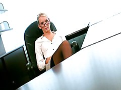 Blonde, Office, Secretary, Classic german scene of office secretary having