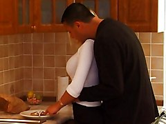Bus, Blonde, Kitchen, Teen, Horny teen gets some in kitchen