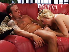 Babe, Blonde babe fucks a guy with a strapontwo