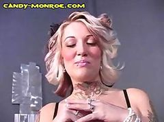 Bus, Bdsm, Blonde, Cuckold, Chubby wife handjob with post orgasm torture
