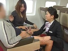 Asian, Handjob, Japanese, Stewardess, Pov handjob from
