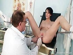 Bus, Doctor, Gyno, Teacher, Exam, Lady doctor exam a lady pussy and breast
