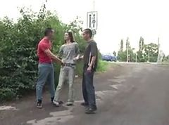 Public, Teen, Threesome, Threesome stockings office